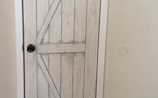 faux painted barn door on a hollow core closet door