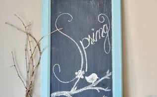 turn a salvaged cupboard door into a vintage chalkboard