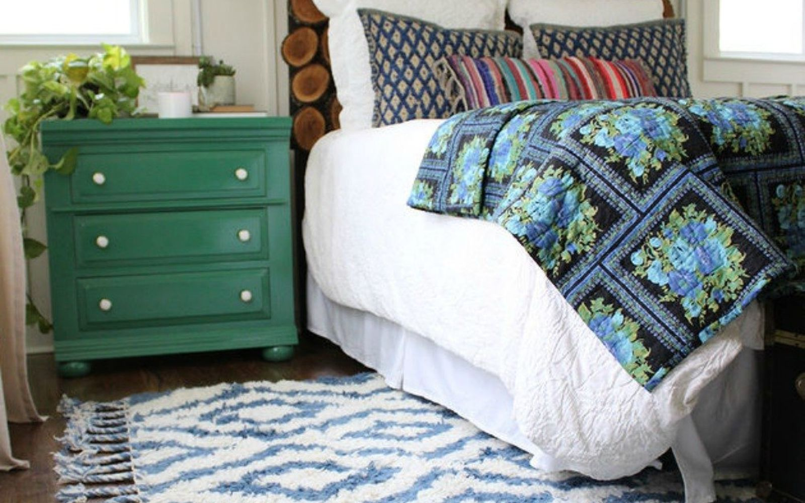 s these are the diy headboard ideas you ve been dreaming of, This wood slice of heaven