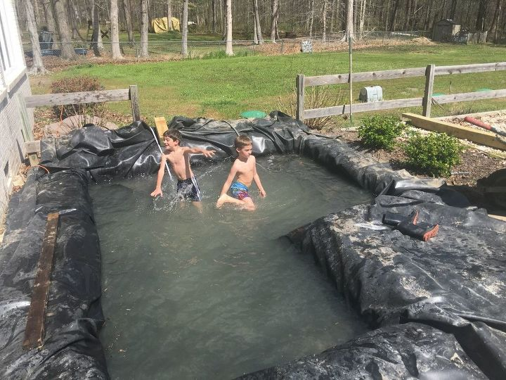 Diy modern backyard koi pond on a budget hometalk for Koi carp pond depth