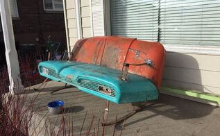 vintage truck hood bench