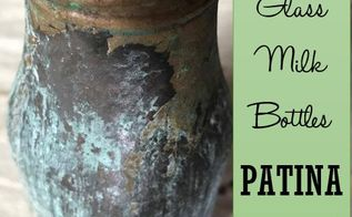 glass milk bottles get a patina makeover