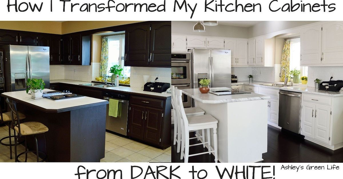 How to paint your kitchen cabinets from dark to white for Painting your kitchen cabinets