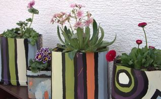 diy flower pots painting plastic containers