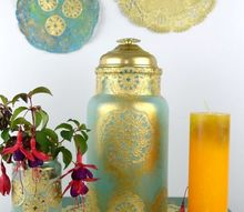 diy moroccan inspired lantern made from old glass and paper doilies