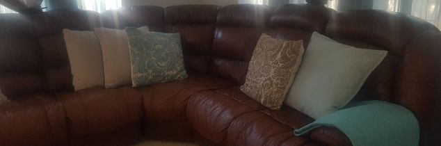 q i have a tan coloured leather sofa sea blue cushions what course is