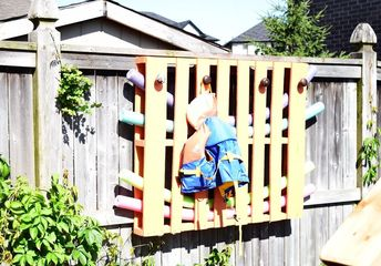 create a splash of color with this wooden pallet pool organizer, Yay Glad a picked a bright color