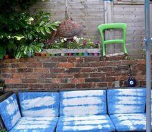 stunning outdoor sofa refresh with shibori
