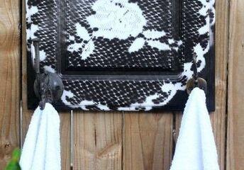 diy a kitchen cabinet door into a towel holder