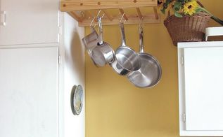 diy wooden hanging pot rack