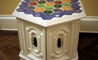 settlers of catan board game upcycled side table