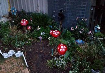 fairy garden concrete mushrooms