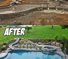 swimming pool landscaping before after