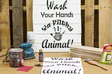 how to make a wash your hands bathroom wall pallet sign