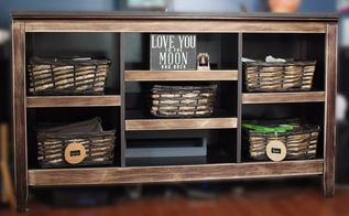 easy 1 tv stand makeover 1 dollar tree item for a farmhouse look, Fixer Upper Farmhouse Chic