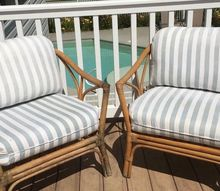 tie cotton swabs together for this outdoor seating update, BEFORE