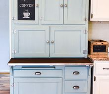 hoosier cabinet made into a coffee bar