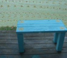 whimsical scrap wood bench and shelving uint