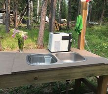 an outdoor wash table my hubby built painted a nice rustic brown