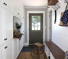 our new farmhouse style back hall mud room area