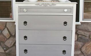 this lovely neutral two toned dresser was restored to its former bea