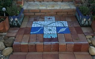 garden mosaics made from broken tiles