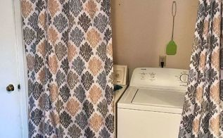 laundry room with curtains