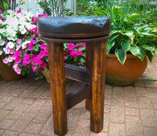 making a swivel stool out of an antique japanese wooden pot lid