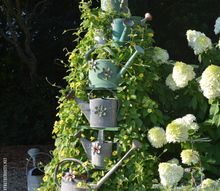 using a ladder as a garden trellis and favorite summer vine