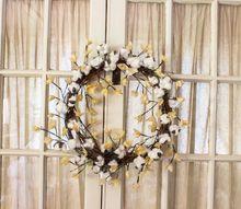 diy rustic cotton boll wreath