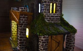 paper clay haunted house with lights