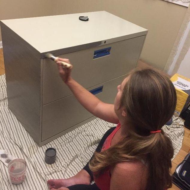 DIY Brushed Steel Cabinet Desk