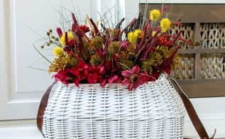 fall flower basket with dollar store flowers