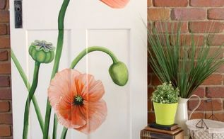 vintage door painted poppy makeover