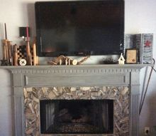 petrif wood fireplace makeover