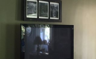turning an old window into a hanging picture frame