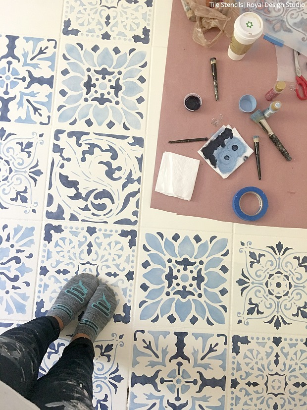 The Secret Is Out How To Stencil A Tile Floor Hometalk