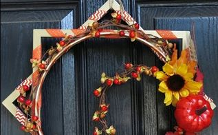 festive fall wreath made with picture frames