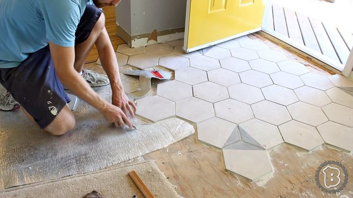 Hexagon Tile Floor Transition Entrance Hometalk