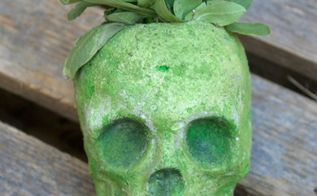 diy cement skull planter or candle holder