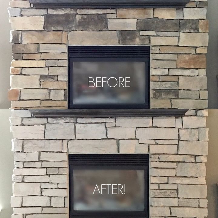 how i painted my stone fireplace hometalk. Black Bedroom Furniture Sets. Home Design Ideas