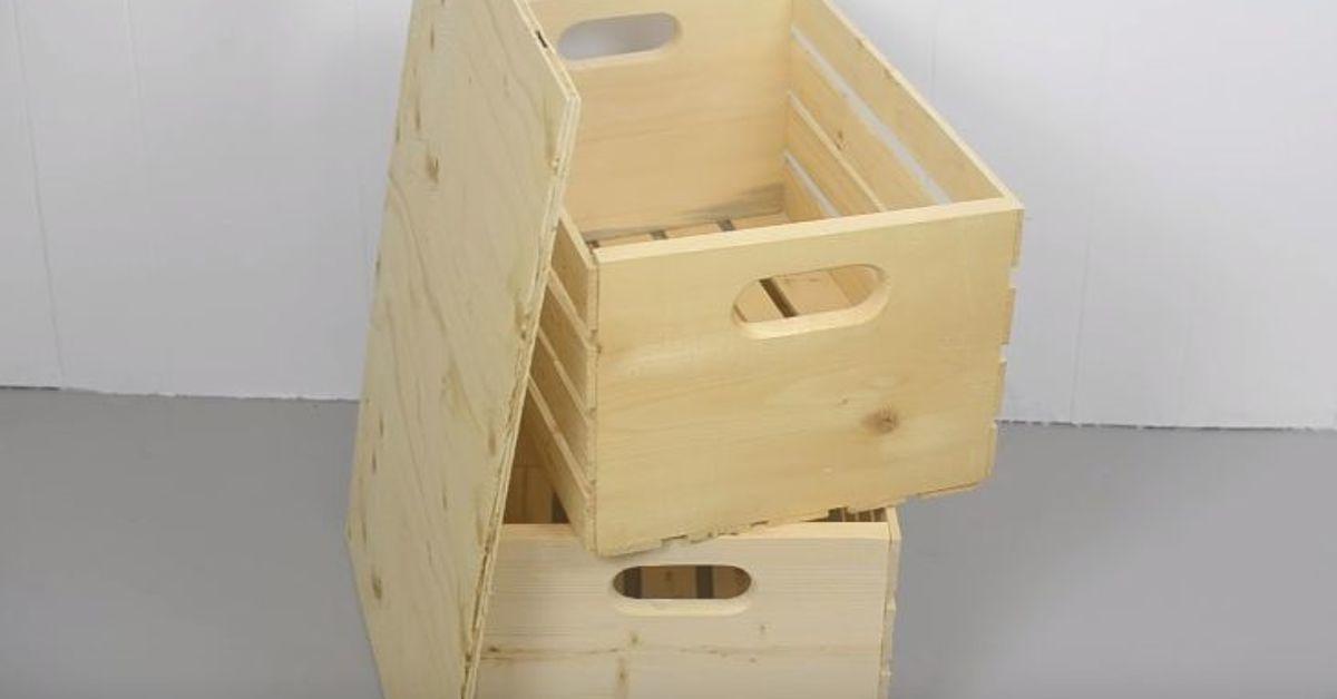 Diy crate storage ottoman hometalk for Re storage crate