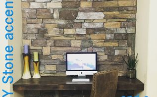 diy stone accent wall on a budget, Stone Accent Wall on a Budget