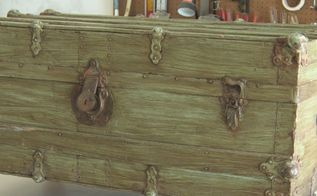 vintage trunk turned treasure, Vintage trunk BEFORE