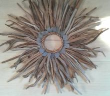 driftwood and sea glass sunburst