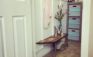 mini mudroom in a closet