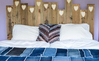 old wood transformed into a loving headboard