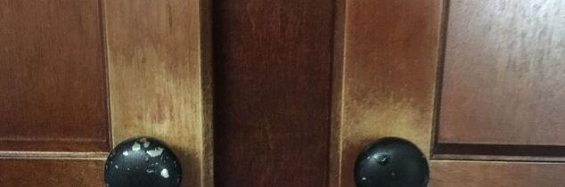 q how do you repair worn stain around cherry kitchen cabinet knobs
