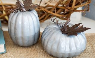 how to makeover dollar store pumpkins with a faux galvanized finish