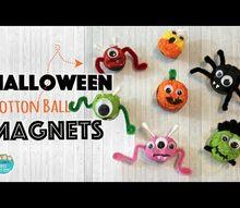 halloween craft magnets using cotton balls bottle caps